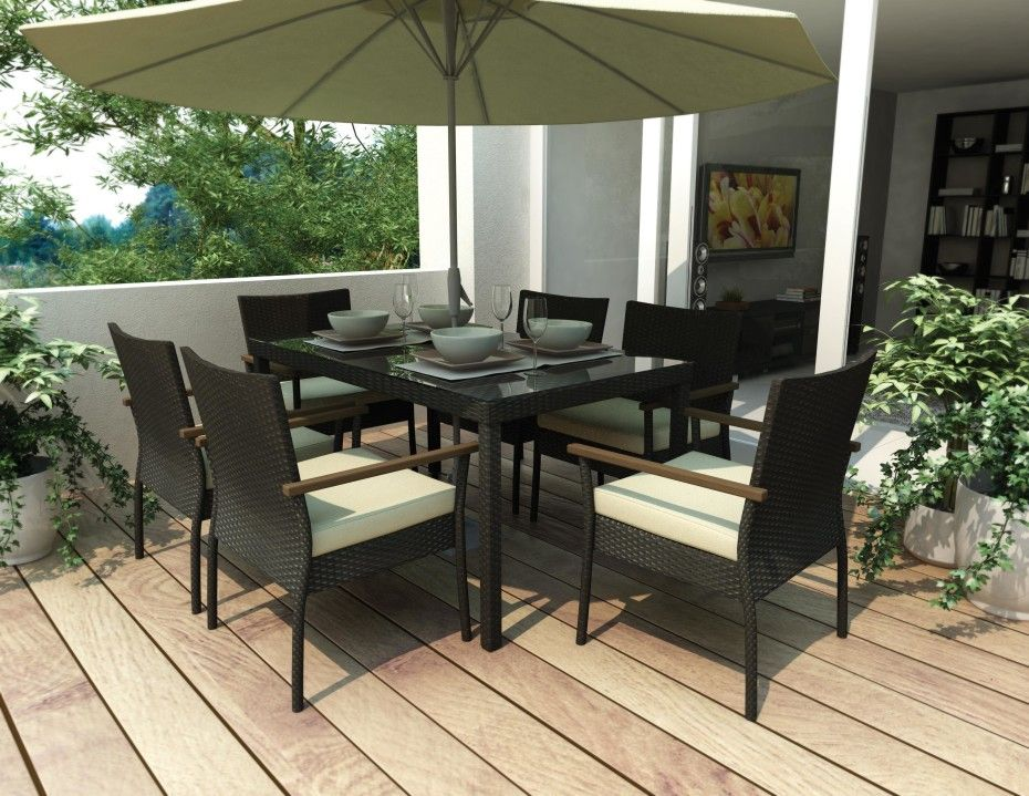 Extraordinary Outdoor Balcony with Dining Rattan Furniture