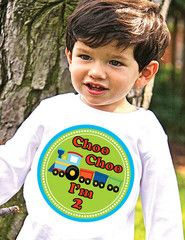 Train 2nd Birthday Kids Shirt Personalized Choo Choo I'm 2 T-shirt | FUNKY MONKEY THREADS #FMT #funkymonkeythreads #trainbirthday #2ndbirthday