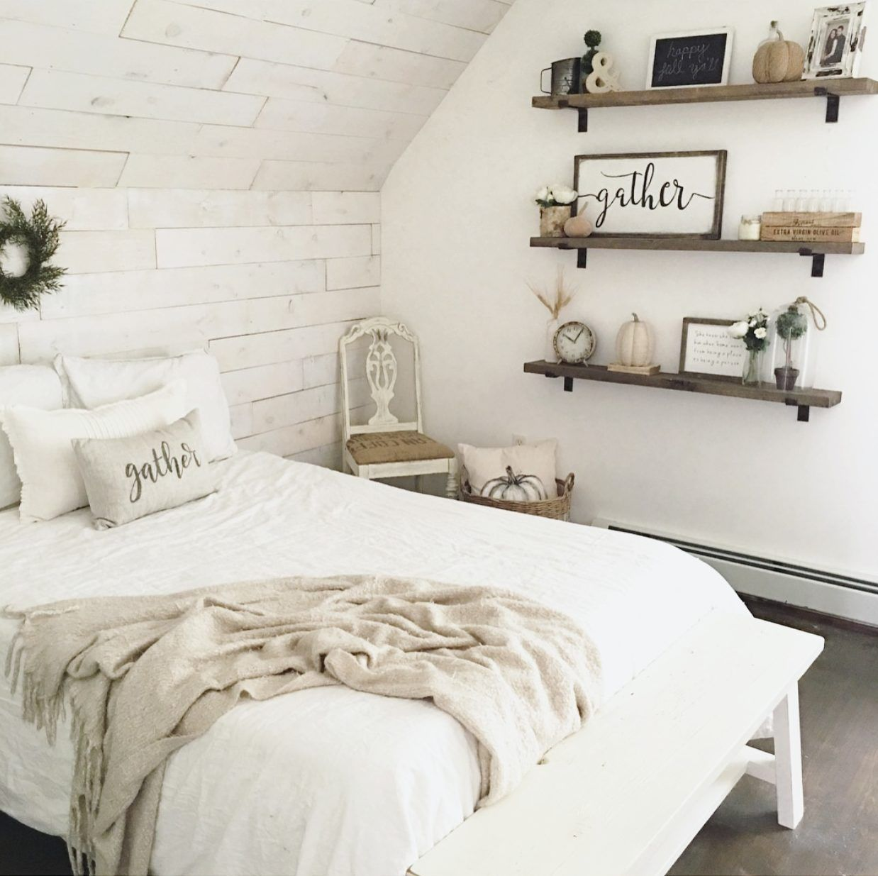 Farmhouse bedroom with shiplap the little white for Farmhouse guest bedroom