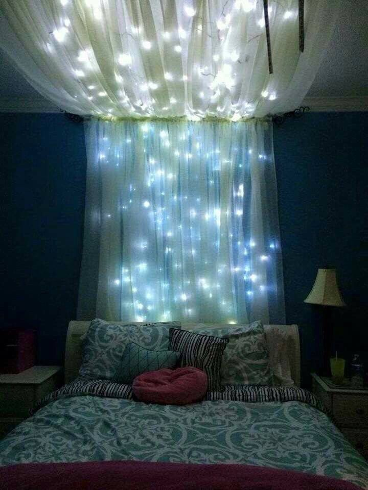 Room Decorating Lights Tumblr Teenroom Bedroom Redecorating Blue Canopy Bed Diy Home Decor Room Decor Tumblr bedroom ideas blue