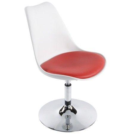Chaise Moderne Pivotante Queen Reglable En Hauteur Blanche Et