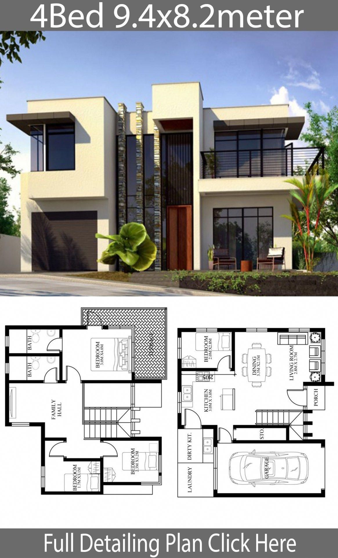 Small Home Design Plan 9 4x8 2m With 4 Bedrooms Home Design With Plansearch Besthomeinteri House Construction Plan Model House Plan Modern Style House Plans