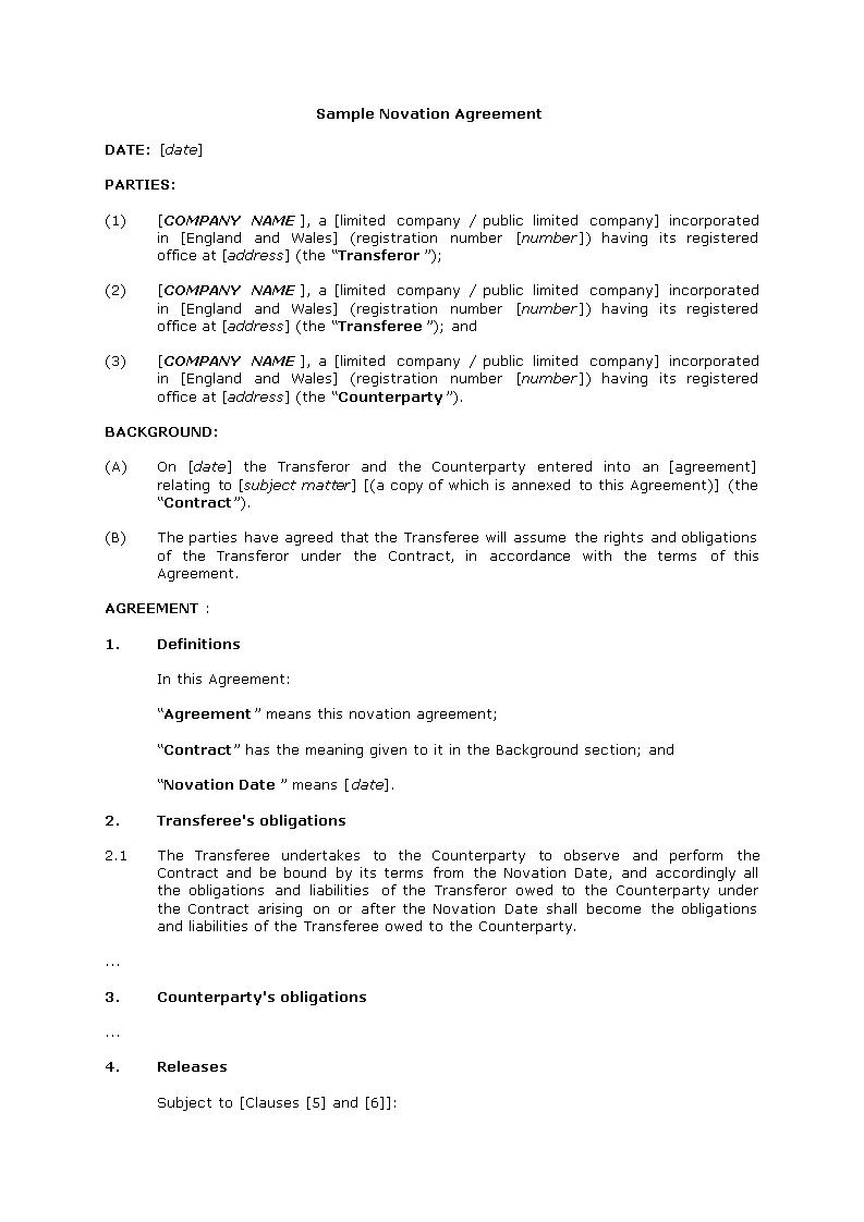 Novation Agreement Sample  Download This Sample Novation