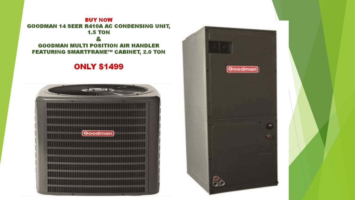 Goodman 3 Ton 14 Seer 33600 Btu R410a Variable Speed Split System Central Air Conditioning System Home Improvement Store In Orlando Air Conditioning System