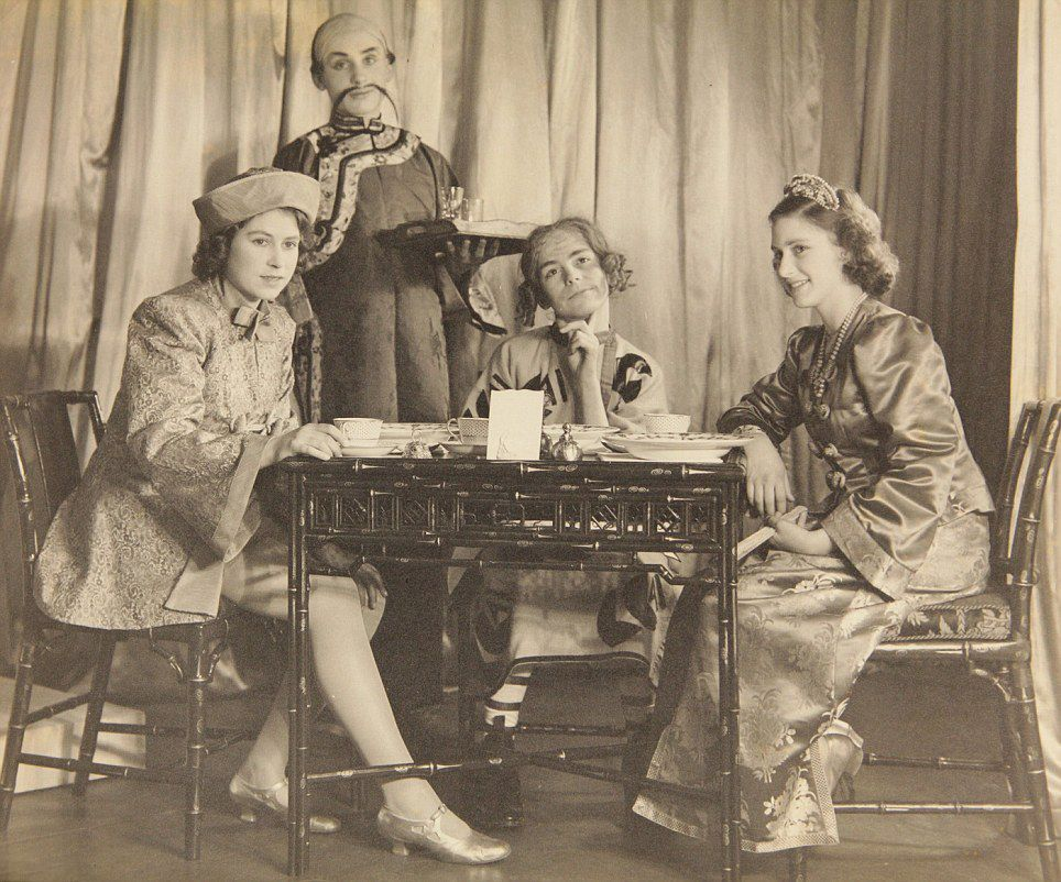 Royal performance... Princess Elizabeth (left) and Princess Margaret (right) perform in Aladdin in 1943 at the Royal School, Windsor, at the height of World War Two. The pictures are going up for sale at Dominic Winter auctioneers in Gloucestershire