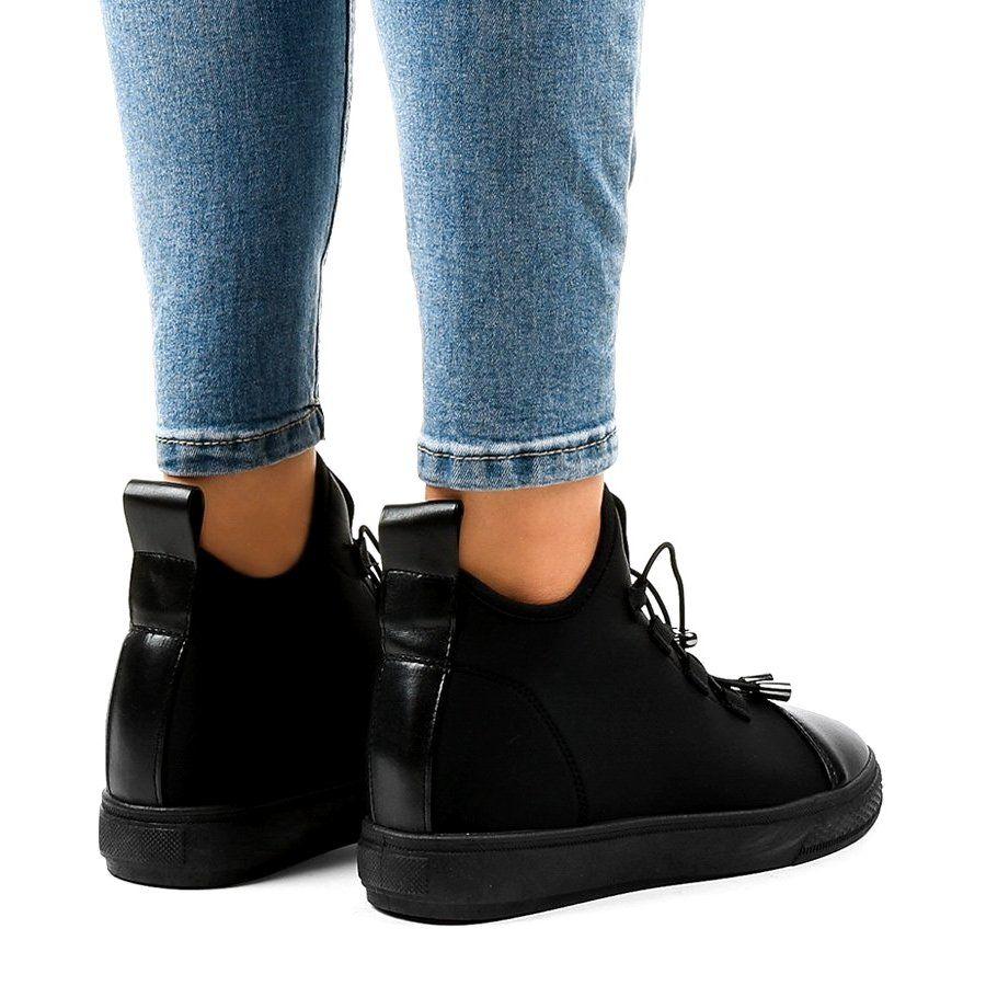 Czarne Ocieplane Trampki Wysokie Na Koturnie Xy 35 All Black Sneakers Sneakers Wedge Sneaker