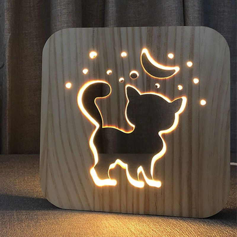 Find Many Great New Used Options And Get The Best Deals For Creative Madera Gato Blanco Calido Led Usb Luz De Noche Nino Cump Wood Cat Wood Crafts Wood Lamps