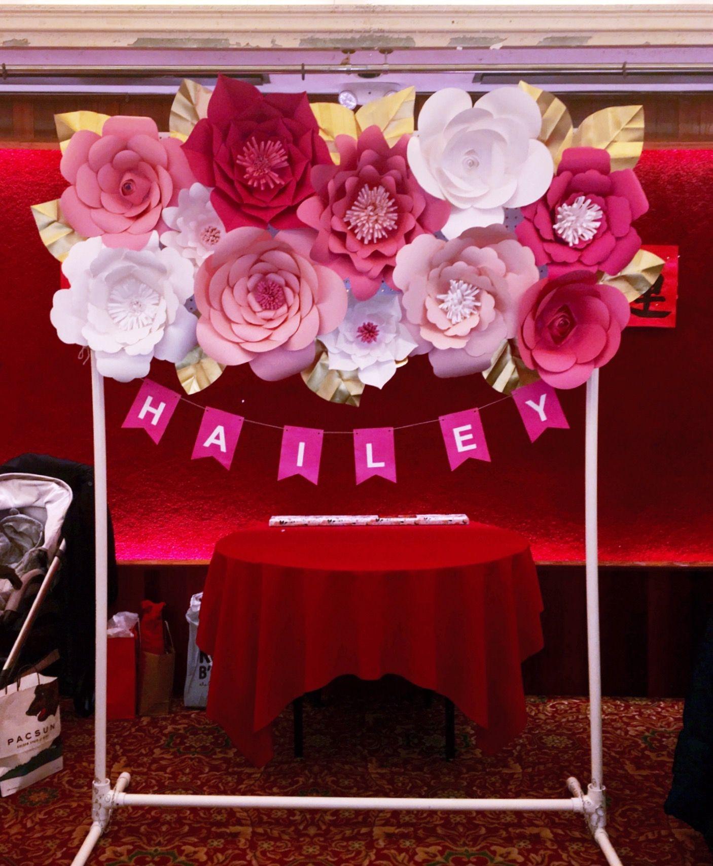 3d paper flower banner