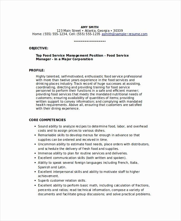 food service manager resume beautiful 6 food service