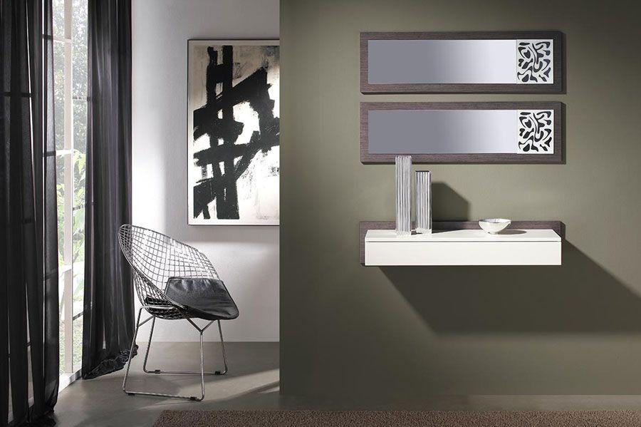 Meuble du0027entrée contemporain avec miroir MONET, coloris cèdre gris
