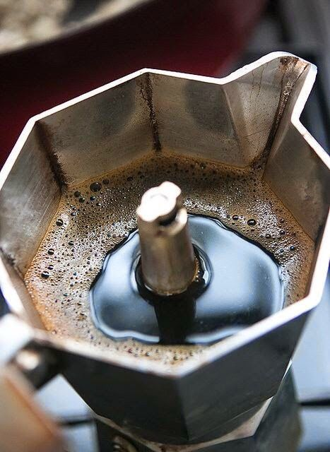 """welcometoitalia: """"The moka pot - macchinetta del caffè - is a stove-top coffee maker that produces coffee by passing boiling water pressurized by steam through ground coffee. It was patented in Italy by inventor Luigi De Ponti for the Alfonso..."""