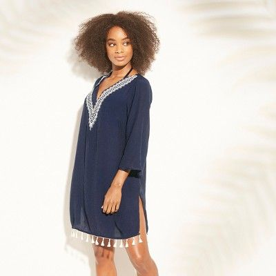 "87f798ce68 Women's Embroidered Tassel Trim Cover Up Dress - Kona Solâ""?20Cream S  #Tassel, #Trim, #Women"