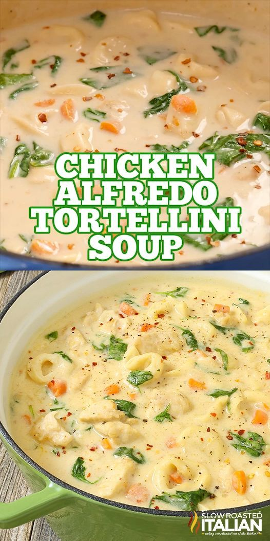Chicken Alfredo Tortellini Soup - Pasta <3 - #Alfredo #Chicken #Pasta #soup #Tortellini #healthycrockpotchickenrecipes