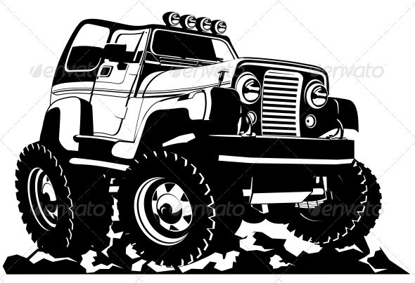 Cartoon Jeep Car Cartoon Truck Detailing Vector