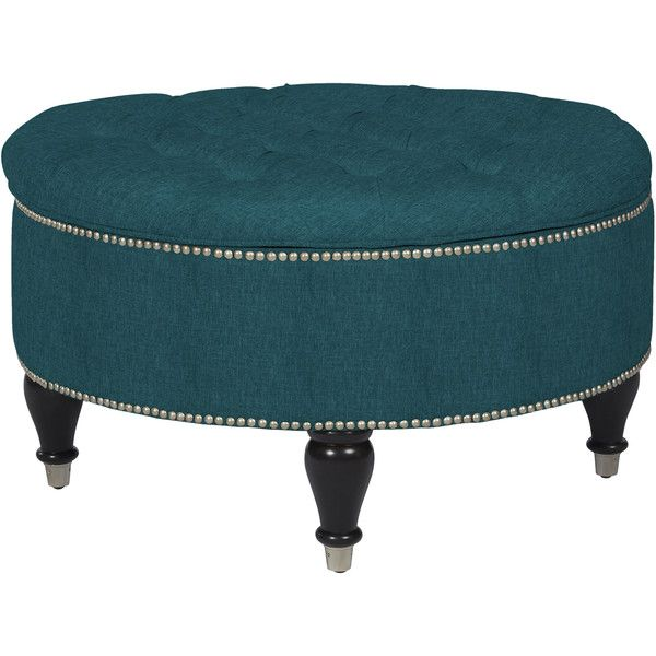 ANGELOHOME angelo:Home Dawson Midnight Paris Sky Blue Linen Round... ($232) ❤ liked on Polyvore featuring home, furniture, ottomans, blue, storage footstool, round blue ottoman, circular ottoman, linen storage ottoman и round linen ottoman