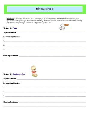 Worksheet Writing For Fun For Each Title Build A Paragraph