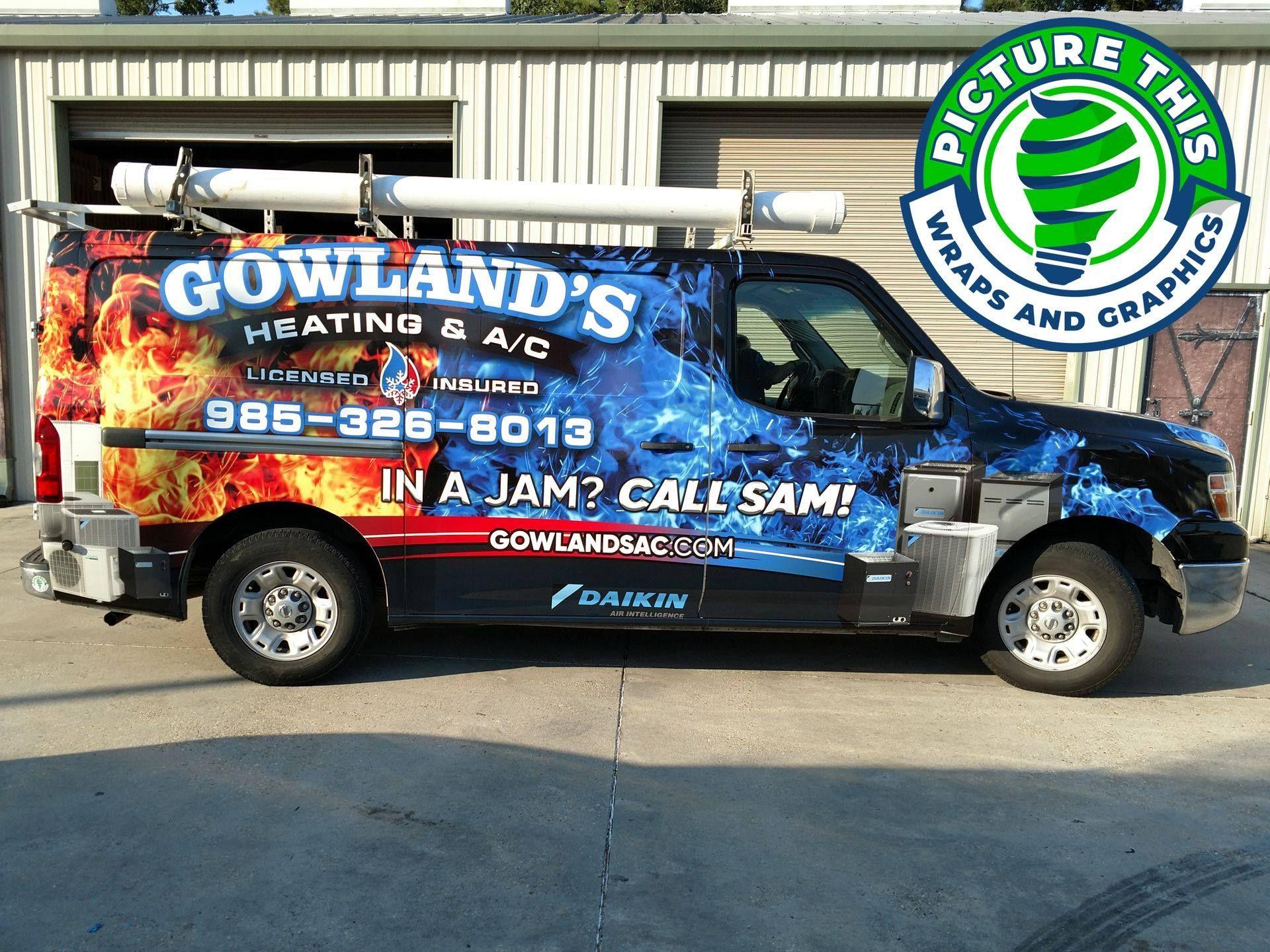 Gowlands Heating And Ac Van Wrap In 2020 Van Wrap Car Wrap Vinyl Wrap