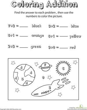 coloring addition space scene 1 math pinterest maths grade 1 and kindergarten math. Black Bedroom Furniture Sets. Home Design Ideas