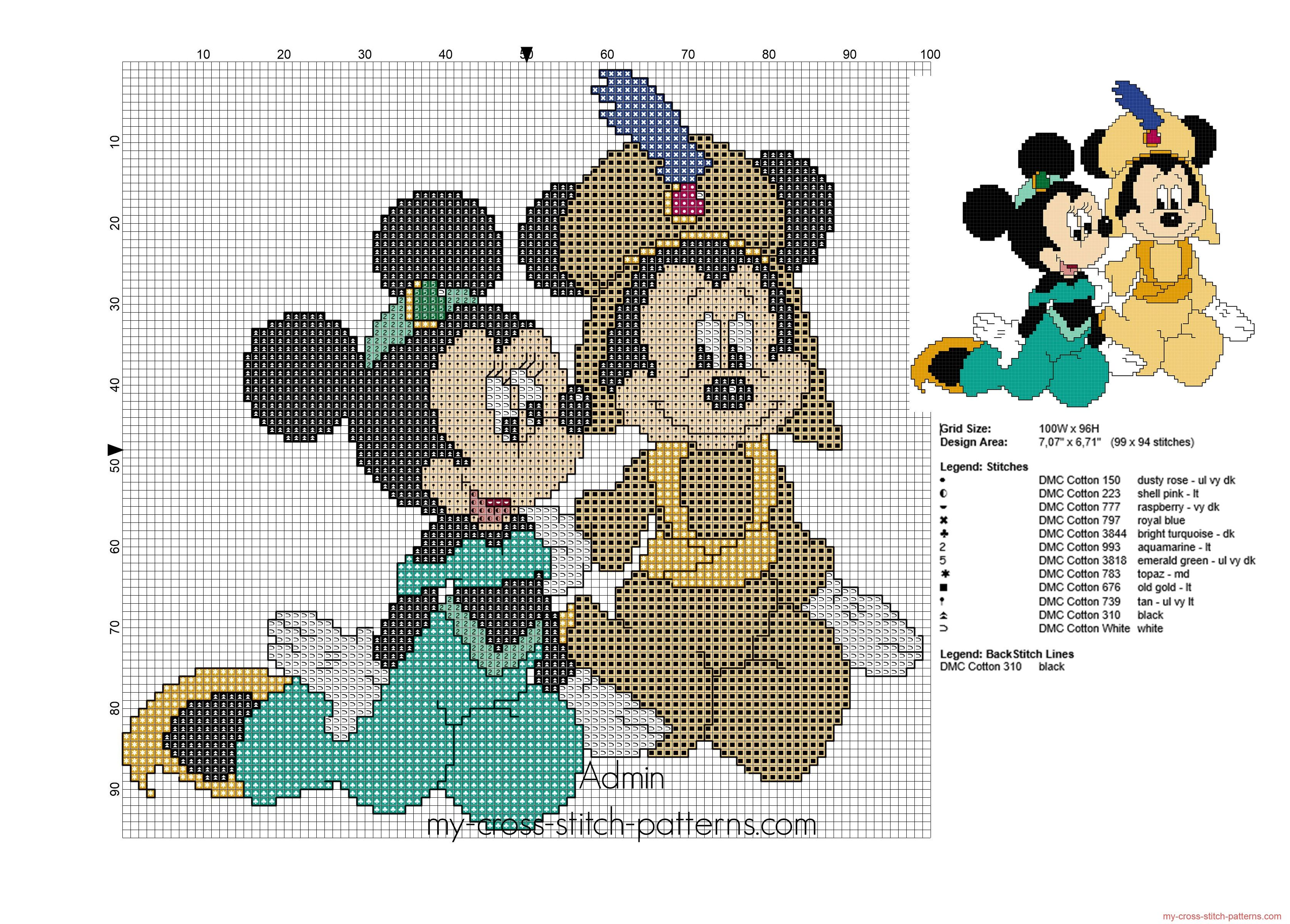 Mickey and Minnie Mouse as Jasmine and Aladdin cross stitch pattern ...