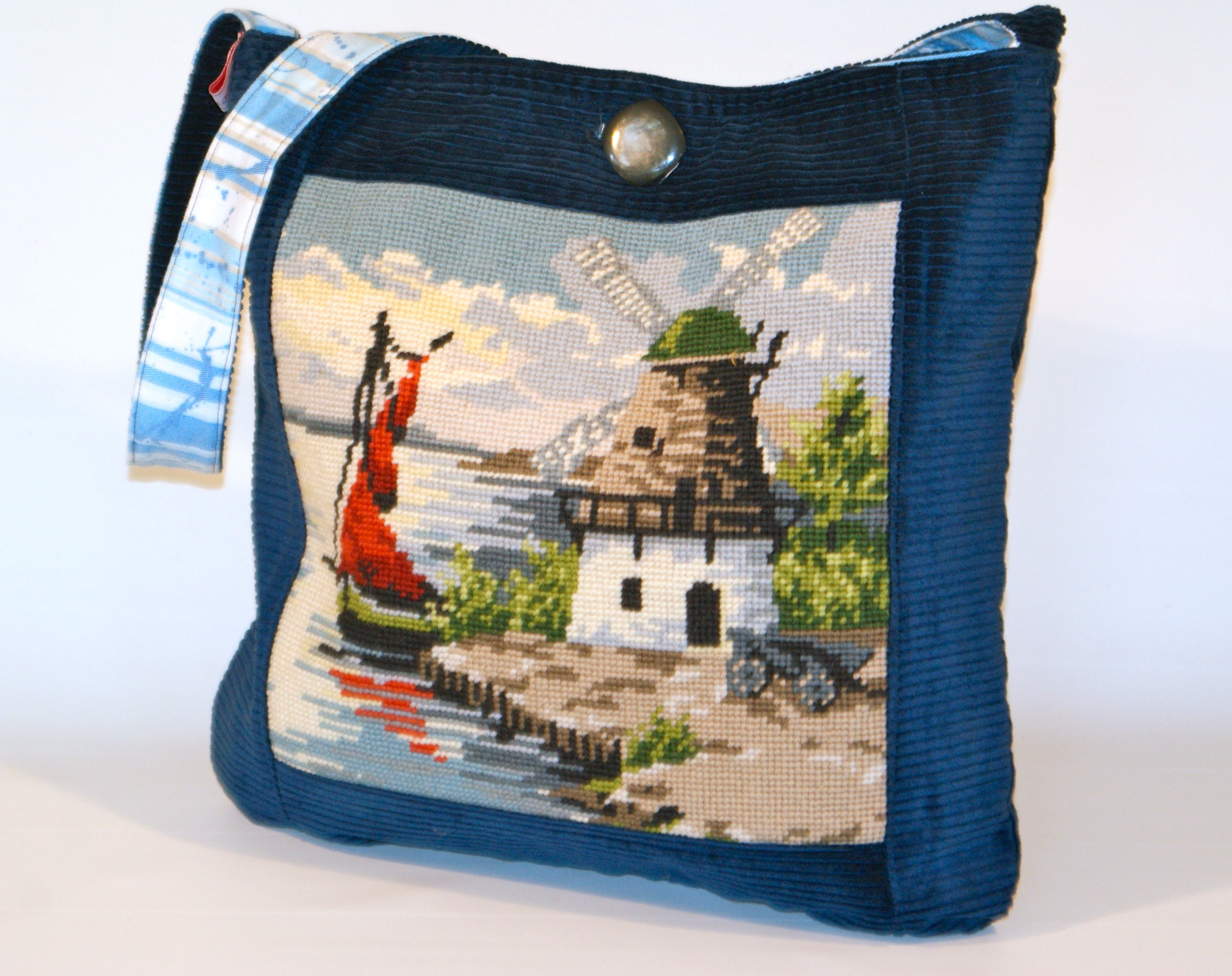 sailing away....cool bag with beautiful vintage needlepoint handcraft