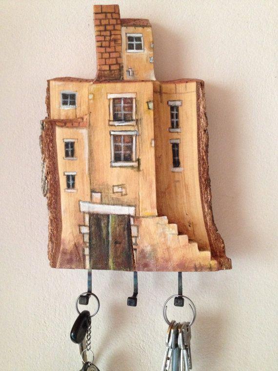 Llavero de pared madera casa de hadas por 3dpictureshop en for Perchas para colgar llaves
