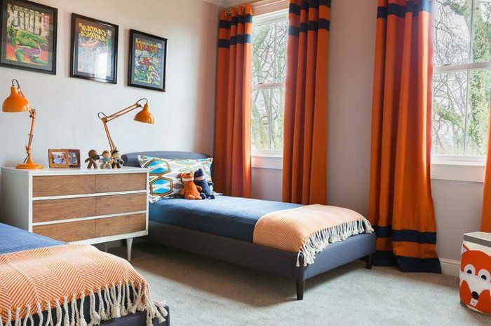 Kinderzimmer Ideen Blau Und Orange Farben Komibnieren Orange