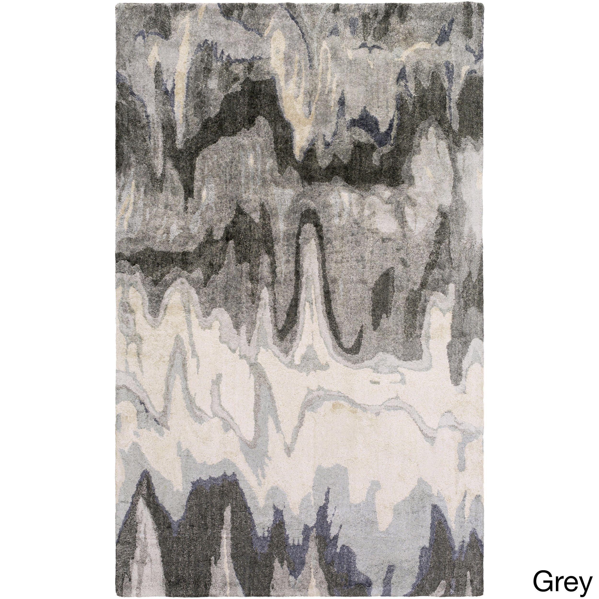 Hand-Tufted Abstract Banana Silk Rug (8' x 11') (Grey-(8' x 11')), Grey, Size 8' x 11'