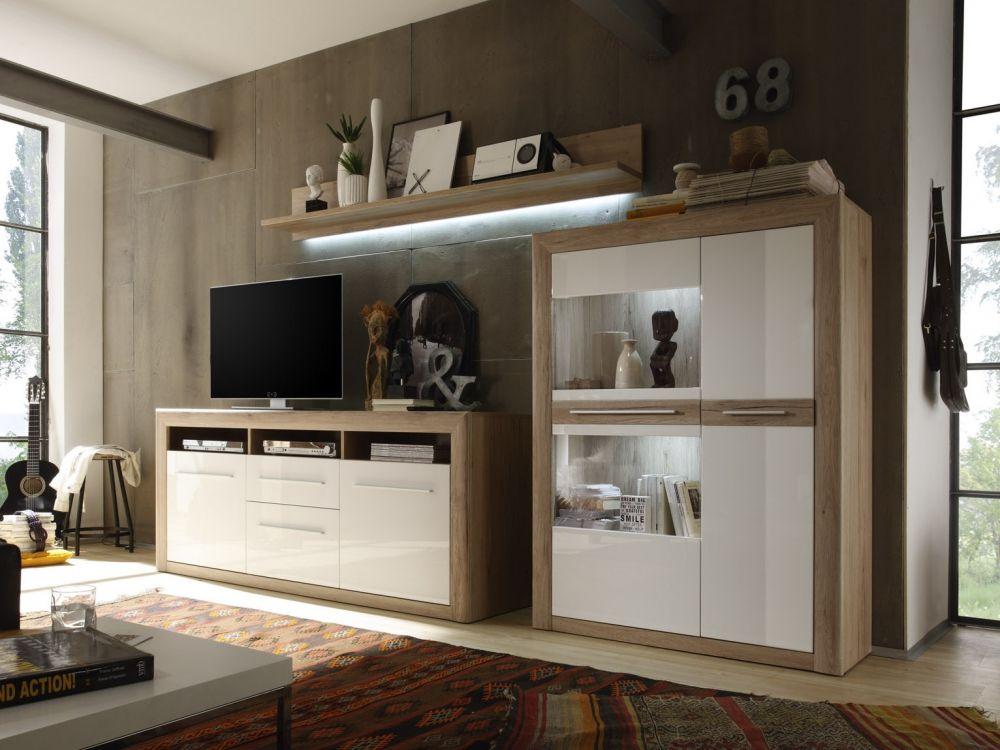 MIRIAM Wohnwand IV weiss/San Remo sand #wohnzimmer #wohnwand #eiche
