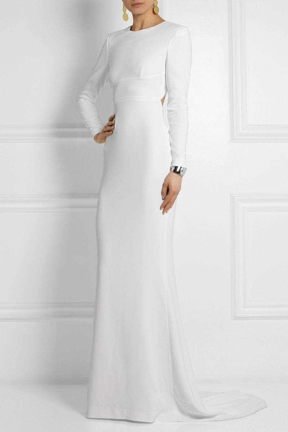White stretchcrepe concealed hook and zip fastenings at back