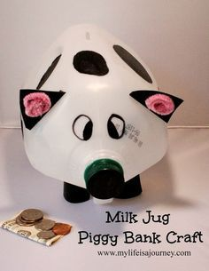 Easy Craft Using A Milk Jug Piggy Bank Craft Piggy Bank Craft Milk Jug Crafts Piggy Bank