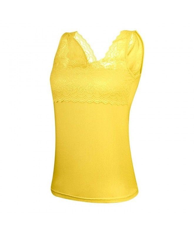 b2e8f2456543 Women Casual Lace Trim Strap Cotton Tank Tops Camisoles - Yellow ...