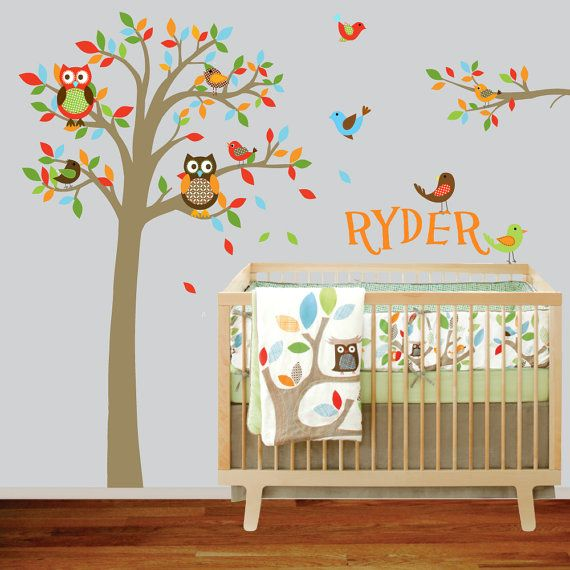 totally buying this :)  Boys Nursery Tree and Branch Vinyl Wall Decal by wallartdesign, $125.00