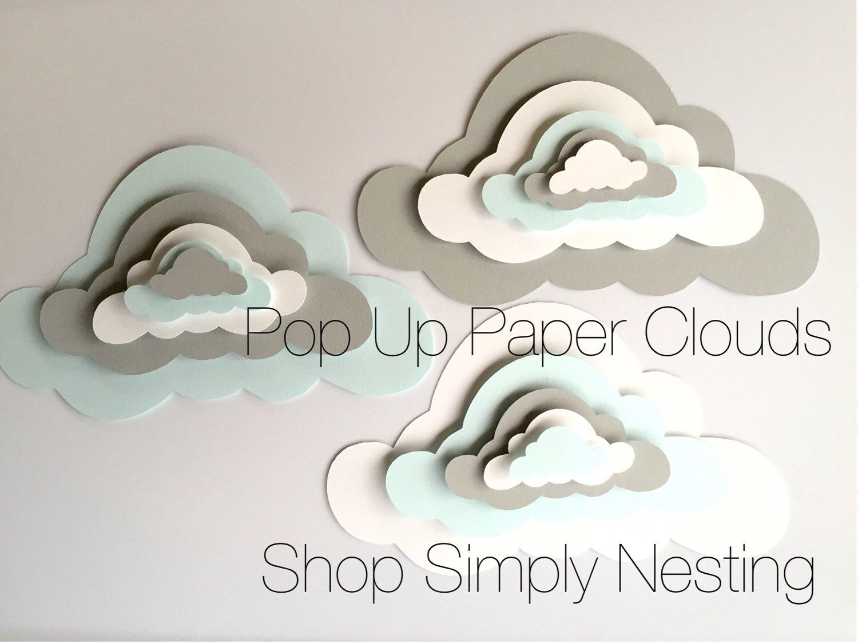 3 Pop Up Paper Clouds, cloud wall art, 3 3d paper clouds