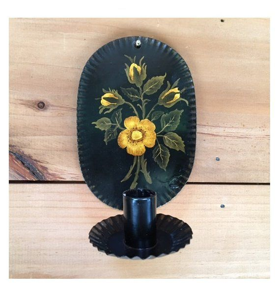 Vintage Toleware Wall Sconce Candle Holder Hand Painted ... on Wall Sconces That Hold Flowers id=82150