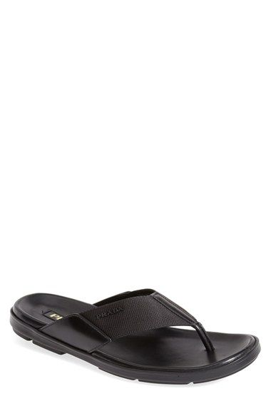 5a8b86fcf533 Free shipping and returns on Prada Leather   Canvas Flip Flop (Men) at  Nordstrom.com. Durable tech canvas forms a smart flip-flop lined with  supple leather ...