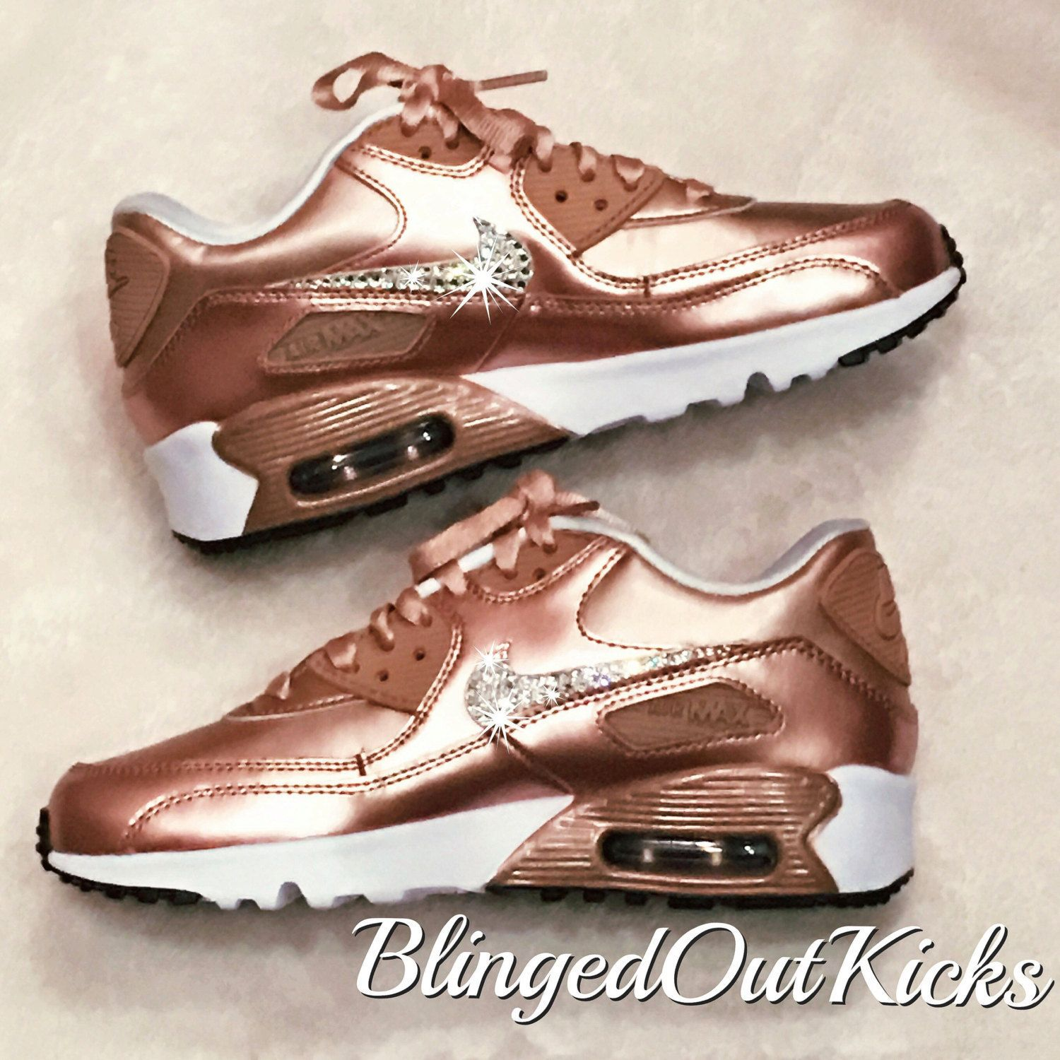 hot sales 6760d e089b Bling Womens Nike Air Max 90 Rose Gold with Swarovski crystals by  ShopBlingedOutKicks on Etsy