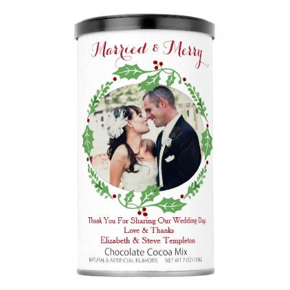 #Married and Merry Christmas Wedding Favors Hot Chocolate Drink Mix - #Xmas #ChristmasEve Christmas Eve #Christmas #merry #xmas #family #kids #gifts #holidays #Santa