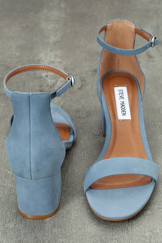 6cc0f3ce4f1 Make your next destination easy street in the easy-walking Steve Madden  Irenee Light Blue Nubuck Leather Ankle Strap Heels! Genuine nubuck leather  shapes a ...