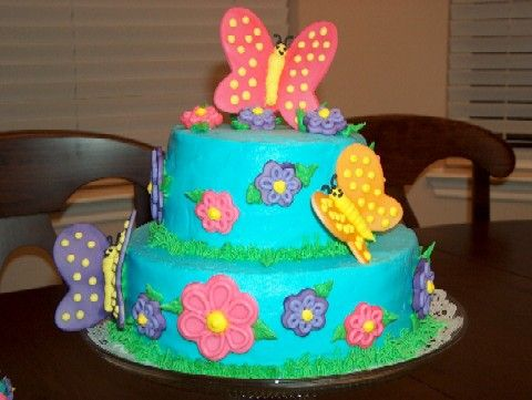 Adorable butterfly flowers theme cake Perfect for a birthday a