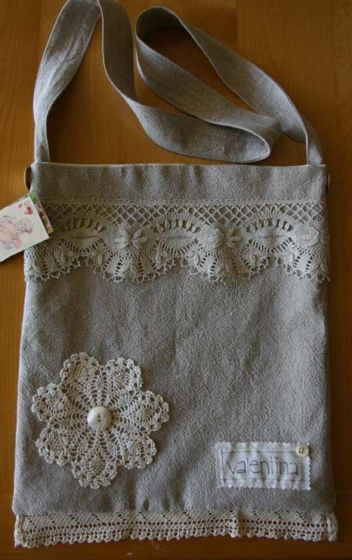 Fab OOAK Handmade Linen Shoulder Bag with Vintage Lace Trim #fab