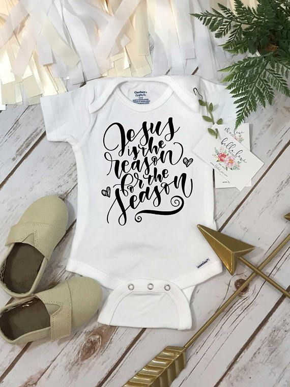 Christmas onesie jesus is the reason for the season 1st personalized baby onesie custom name onesie baby shower gift custom baby gift personalized baby gift negle Gallery