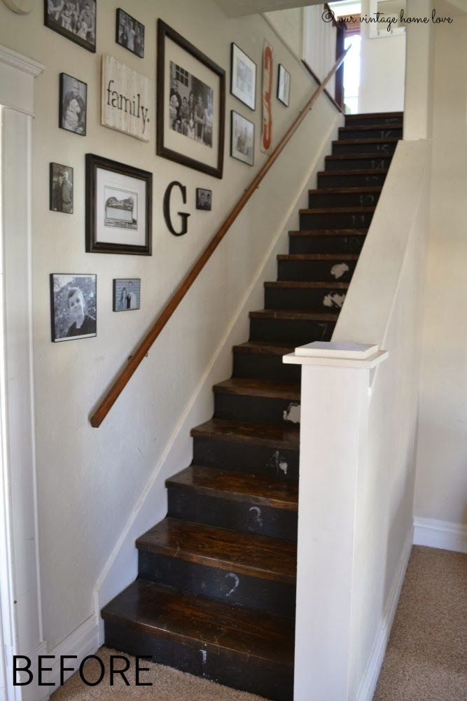 Stairway renovation ~ cut out wall and add spindles/rail, paint steps with chalk paint.: