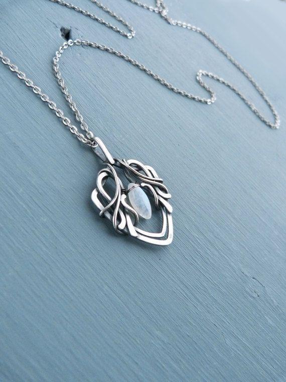 Fine silver pendant with moonstone - 999 fine silver jewelry - wire ...