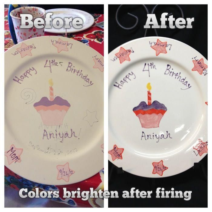 Before and After shot of a birthday plate. Colors brighten after getting glazed and fired. #mimosastudios #albertastreet #pdx #pottery #fun