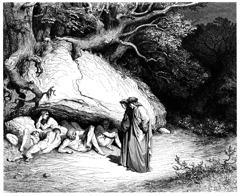 «[...] Al cristianismo fueron anteriores, y a Dios debidamente no adoraron: a éstos tales yo mismo pertenezco. Por tal defecto, no por otra culpa, perdidos somos, y es nuestra condena vivir sin esperanza en el deseo.» (Infierno, IV, 37-42)