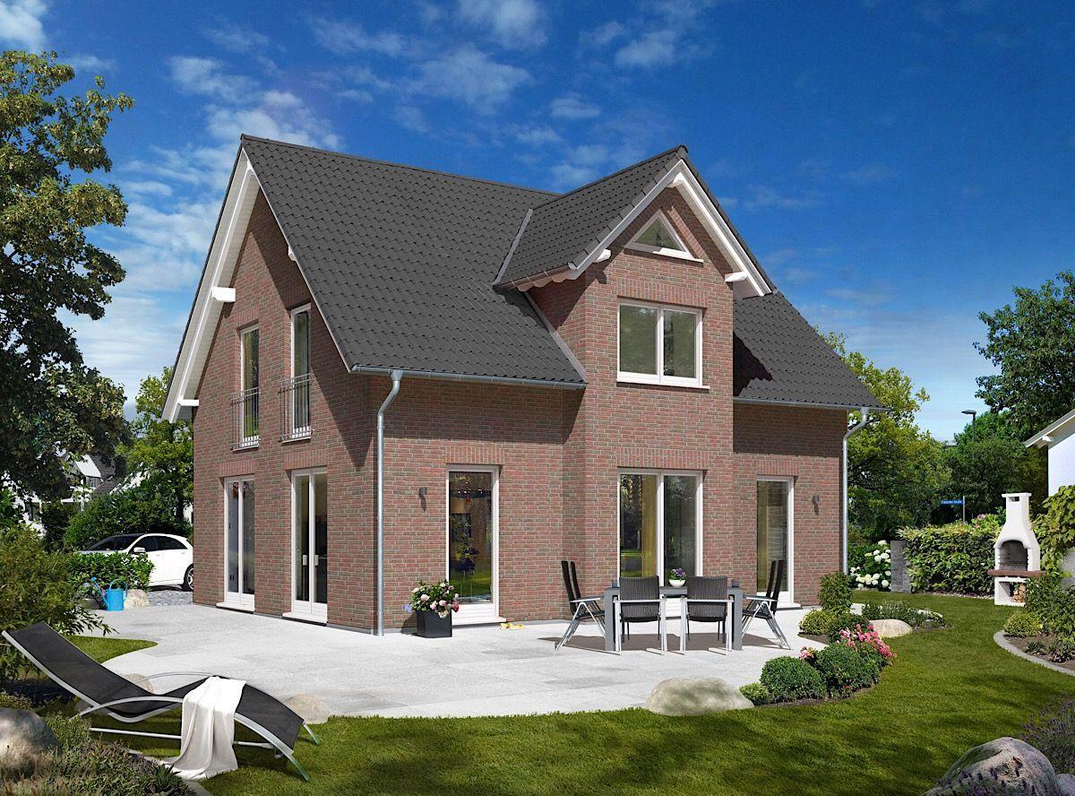Kapitänsgiebel Haus modern mit Klinker Fassade