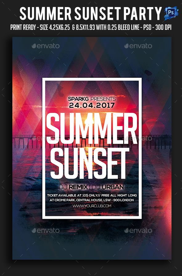 Summer Sunset Party Flyer  Party Flyer Summer Sunset And Sunset