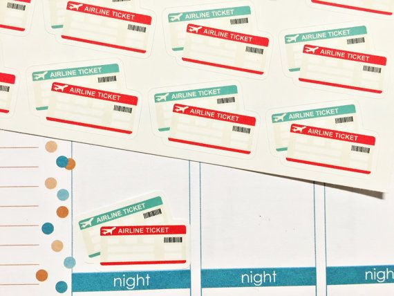 20 Airline Ticket Stickers! Perfect for your Erin Condren Life Planner, Filofax, Plum Paper & other planner or scrapbooking!