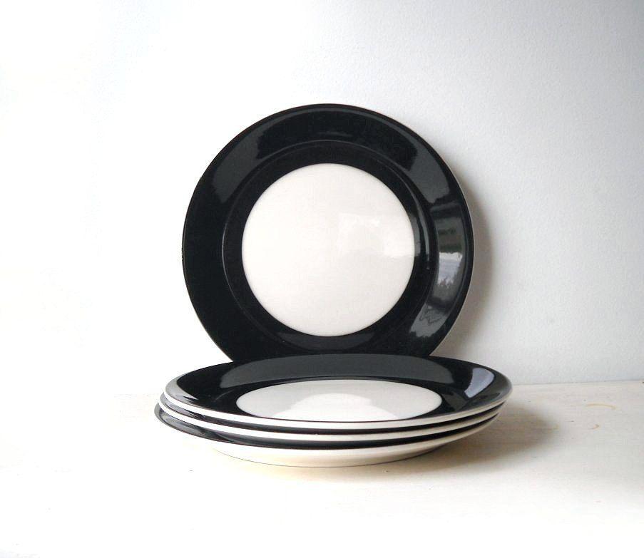 Vintage Black White Dinner Plates Syracuse China