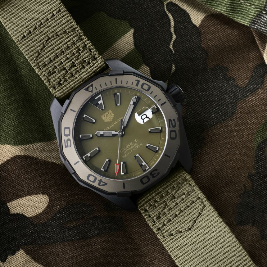 86352e50e3c3 TAG Heuer launched a pair of military-inspired TAG Heuer Aquaracer 300  Caliber 5 watches for Baselworld 2017. This model has a green ceramic bezel  insert ...
